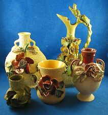 FIVE Barbotine Majolica pieces with Sand Finish & applied Florals  - Estate ISW