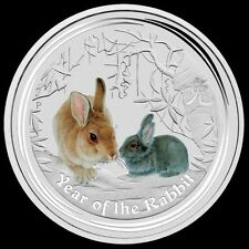 2011 Lunar Year of the Rabbit Colored 2 oz .999 silver