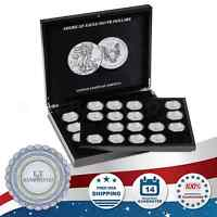 Silver Eagle Coin Display Box Case + 1 Tray + 40 Lighthouse 41mm Capsules Free
