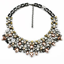 Dot &Line stella multi crystals rose gold dot  bib statement collar necklace