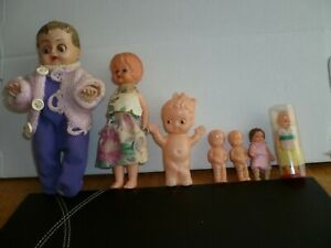 COLLECTION  OF 7 VINTAGE SMALL DOLLS CELLULOID/PLASTIC/ RUBBER