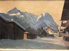 Berge im Schnee   M.W.Wagner    altes Ögemälde auf Leinwand       ca. 70 x 50 cm