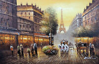 Paris 1800s Eiffel Tower Restaurants Shops Lge. Sunny Day Oil Painting STRETCHED
