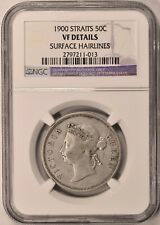 1900 Straits Settlements 50 Cents Silver NGC VF KM# 13