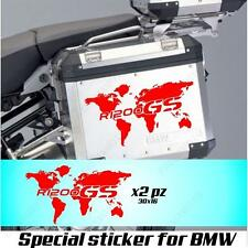 PAIR OF STICKERS WORLD MAP BMW R 1200 GS AC GLOBE FOR SIDE CASES RED