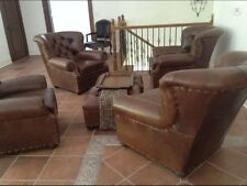 2 LEFT- Tufted Chocolate Leather Chairs! $4,000 Per Chair pickup in Jacksonville
