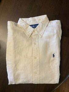 NWT Polo Ralph Lauren Ivory Classic Fit Cream Dress Shirt Linen Silk Size XL NEW