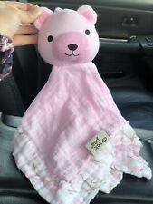 Chick Pea Teddy Bear Pink Muslin Security Blanket Lovey Floral Trim