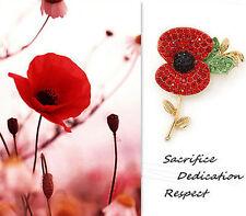 Memorial Peace Pursuit Red Rhinestone Poppy Flower Brooch Pin Badge p614