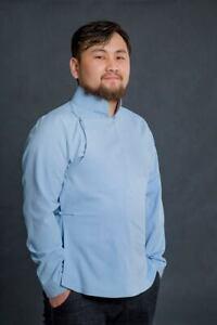 Mongolian Light Blue Deel Men Shirt