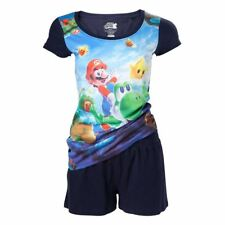 Official Womens Super Mario and Yoshi Shortama Pyjama Set - Nintendo Adult