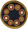 """New Primitive Country Black Mustard Red PENNY STITCHED CANDLE MAT Doily 9"""""""