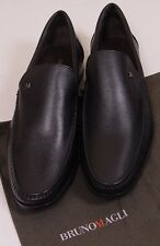 BRUNO MAGLI SHOES BLACK GRAINED CALFSKIN HANDMADE LOGO M GRAVATO LOAFER 8 41 NEW