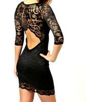 NEW WOMEN LADIES BODYCON  FLORAL LACE CUT OUT DRESS TOP SIZE 8,10,12,14