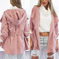 Women Spring Warm Hooded Long Coat Jacket Lady Trench Windbreaker Parka Outwear