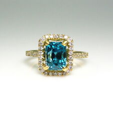 3.39 Carat Blue Zircon And Diamond Halo Ring In 14k Yellow Gold (14158)
