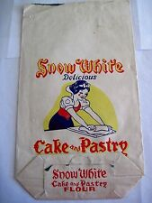 Delightful Vintage Cake and Pastry Paper Flour Bag w/ Snow White Rolling Dough *