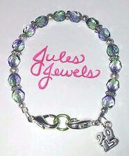 Czech Glass Beads Teaberry Purple & Green Medical Alert ID Bracelet Pick A Charm