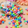 100X 10mm Opaque Smooth Round Plastic Acrylic Beads Solid Colour Jewelry Making