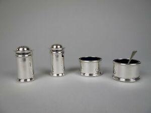 Scottish Sterling Silver Four Piece Cruet Set by James Weir, Glasgow, 1924.