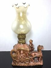 Vintage Miniature Oil lamp ceramic Victorian colonial horse and carriage