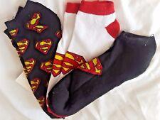 DC Comics Superman Logo Men's Black Ankle Socks Size 6-12 3 Pair New!
