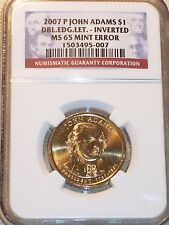2007-P ADAMS DBL.EDG.LET- INVERTED NGC MS65 MINT ERROR
