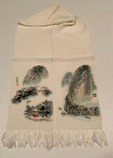 Hand Painted Chinese Silk Scarf River Mountain Village Chop Mark