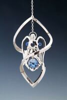AngelFIGURINE - SPIRAL, ORNAMENT SILVER PLATED WITH AUSTRIAN BLUE CRYSTALS