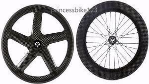 Five Spoke + 88mm Depth Wheels Fixed Gear /Track Carbon Bike  Wheelset 12k Weave