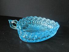 Moon and Stars Pattern Glass Fenton LG WRIGHT Triangle Handled Relish Dish