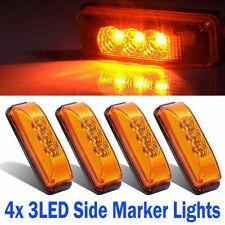 4X Amber Side Marker 3 LED Turn Lights Waterproof Truck Trailer Reflex Lens 12V