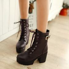Military Punk Womens Lace Up Platform High Chunky Heels Mid Calf Gothic Boots