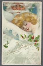Postcard Christmas Winsch Schmucker Santa looking at Beautiful Sleeping Lady