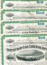 Set 4 Pittsburgh and Erie Railroad Co., 1920s, tax-stamps, VF minus
