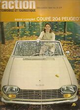 L'ACTION AUTOMOBILE 76 1966 ESSAI PEUGEOT 204 COUPE TOUR DE CORSE LA PUB AUTO
