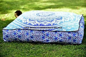 Ombre Mandala Large Indian Square Floor Pillow Case Cotton Cushion Cover Dog Bed