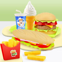 Simulation Fast Food Hamburger French Fries Kitchen Model Kids Play Toy Noted