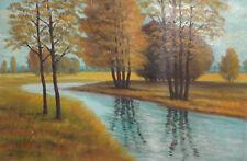 Vintage Impressionist river landscape oil painting