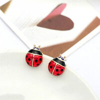 Cute Insert Earrings Exquisite Paint Stud Earrings Red Oil Ladybug Ear StudsRCCA