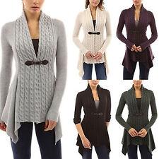 2017 Womens Long Sleeve Sweater Top Irregular Braid Knitted Cardigan Buckle Coat