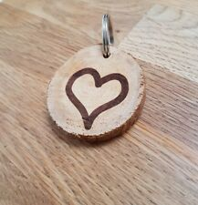 VALENTINE'S LOVE HEART KEYRING, WOODEN ENGRAVED, GIFT, LOVED ONE, XMAS, WRITABLE