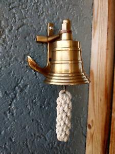 Petite cloche murale en laiton,avec patere ancre marine,neuve,fonctionelle
