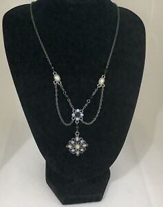 1928 Set Necklace And Earrings Opalite Stones Art Deco Style  18 Inches J1