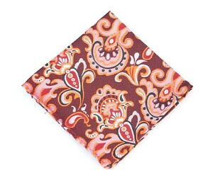 Lord R Colton Masterworks Pocket Square - Pisaq Lava Red Floral Silk - New