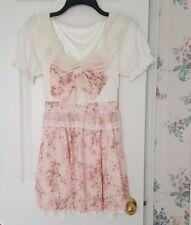 Pink White Lolita Lace Kawaii Floral Dress XS-S