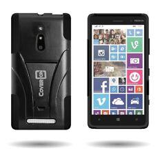 For Nokia Lumia 830 Case Hard Silicone Hybrid Kickstand Armor Cover Skin Black