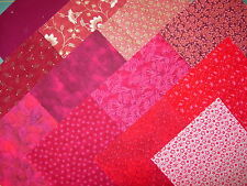 lot de 12 coupons de tissus patchwork rouges 15 x15 cm