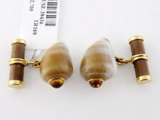 Trianon 18K Seashell, Citrine & Wood Bar Cufflinks Ret:$2,700 New w/Tag