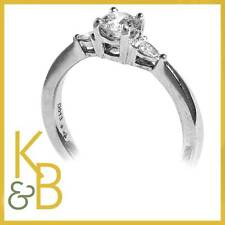 18ct White Gold 0.43ct 1 Round & 2 Pear Diamond Ring SIZE N (15684) SALE!!!